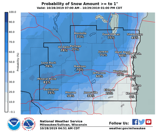 Snow is likely across south-central portions of southeastern Wisconsin overnight Monday into Tuesday, according to the National Weather Service.