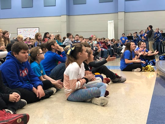 Students fro Hackler Intermediate School participate in a drug-free rally as part of National Red Ribbon Week.