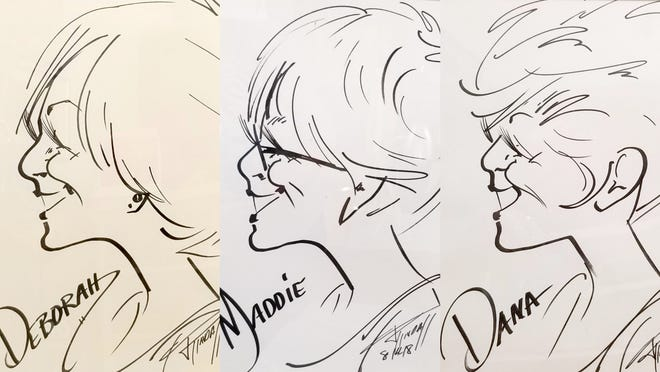 """These caricatures represent local artists Deborah Lively of Mountain Home and Maddie Kiefer and Dana Johnson of Yellville, whose work will be featured in the """"Three Amigas"""" display during the month of November at the ASUMH Art Gallery."""