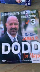 "Mayor Dodd's campaign mailers say to ""vote Democrat."" Mayor Dodd is running as an independent this year."