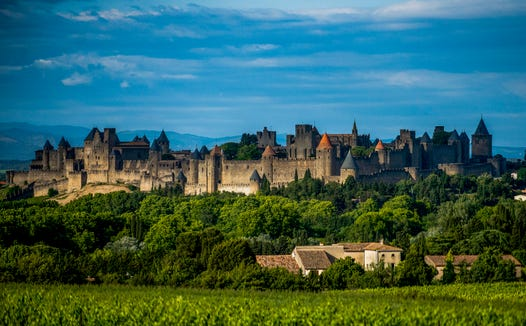 Approaching Carcassonne.
