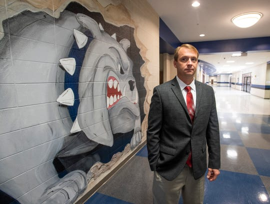Marbury High School Principal Lyman Woodfin is shown at the school in Marbury, Ala., on Monday morning October 28, 2019.