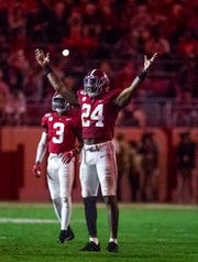 Alabama linebacker Terrell Lewis (24) tries to hype up the crowd Arkansas at Bryant-Denny Stadium in Tuscaloosa, Ala., on Saturday October 26, 2019.