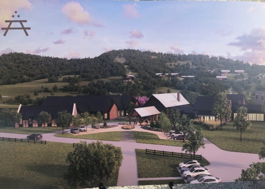 A rendering shows what the Southall Farms property will look like once it is built out.