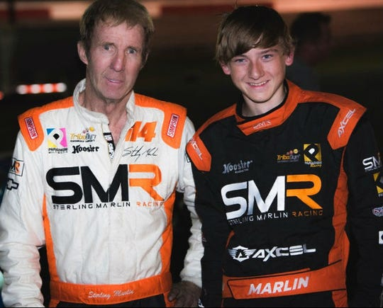 Two-time Daytona 500 champion Sterling Marlin, left, hopes to hold off his grandson Stirlin in Sunday's All America 400 at Fairgrounds Nashville Speedway.