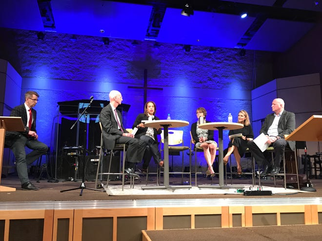 Panelists at the Community Working Together forum hosted by Metro Social Services Monday at the West End Community Church.