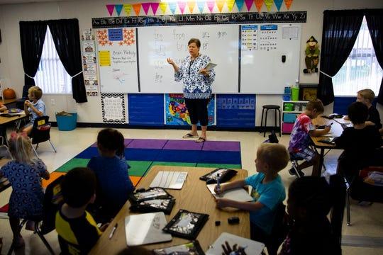 Laurel Oak Elementary school teacher Christina Svec talks with her students, Monday, Oct. 28, 2019, at Laurel Oak Elementary School in North Naples. Svec is a recipient of a 2019-2020 Teacher of Distinction award.