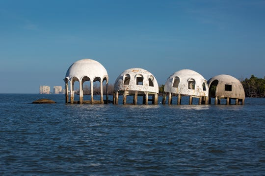 The iconic Cape Romano dome home near Marco Island has long been a gem for Southwest Florida tourists. The now submerged home once sat on the shore and consists of six domes, two of which have sunk into the ocean due to erosion. The mysterious dome homes near Marco Island have long enticed tourists in the area. Last time we reported on the domes, the state had taken over jurisdiction of the land the domes are on, but their plans for the property were not yet known. The photo was taken Monday, Oct. 28, 2019.
