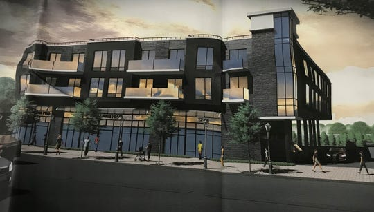 A rendering of a mixed-used building coming to 12-44 River Road in Fair Lawn.