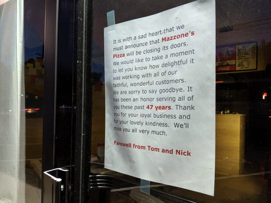 Mazzone's Pizza has closed after 47 years in business in River Edge.