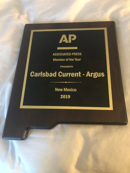 The Carlsbad Current-Argus was presented with the Associated Press New Mexico's Member of the Year Award, Oct. 26, 2019 in Albuquerque.