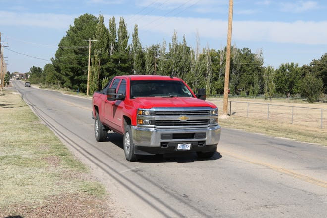 A Chevrolet pickup heads down Cherry Lane Monday. Improvements to the street could start next year, according to Carlsbad Mayor Dale Janway.