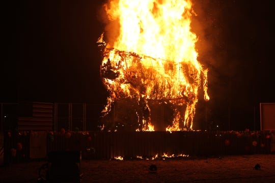 The guest of honor was set aflame at the Burning of the Bull festival in Alamogordo Saturday, Oct. 26.