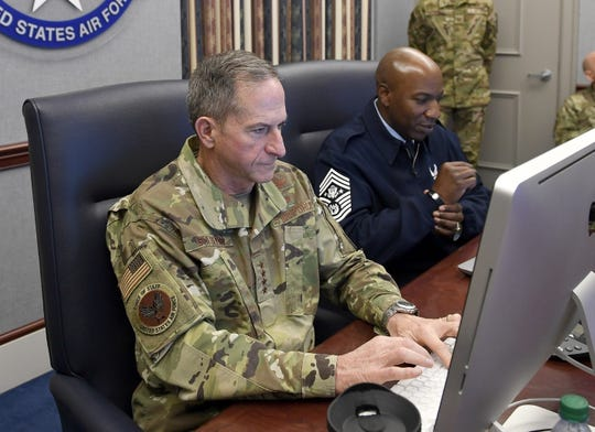 Air Force Chief of Staff Gen. David L. Goldfein and Chief Master Sergeant of the Air Force Kaleth O. Wright take part in a Reddit 'Ask Me Anything' session Oct. 24, 2019, at the Pentagon in Arlington, Va.