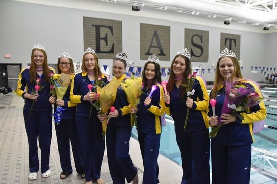 The South Lyon swim and dive team honored its senior swimmers prior to its final meet of the season against Walled Lake Central.