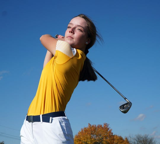 South Lyon High varsity golfer Katherine Potter. Potter recently finished fifth in the state in Div. 2 play.