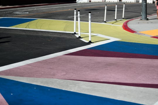 Painted crosswalks guide pedestrians in the El Paseo shopping district on Sunday, October 27, 2019 in Palm Desert, Calif.