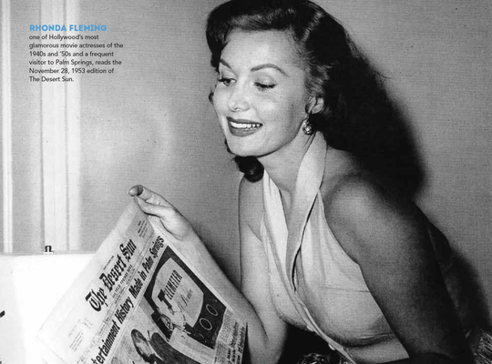 In this image from the Palm Springs Historical Society's 2020 calendar, Hollywood actress Rhonda Fleming reads The Desert Sun in 1953. New subscribers to The Desert Sun can get a free calendar at our November open houses.