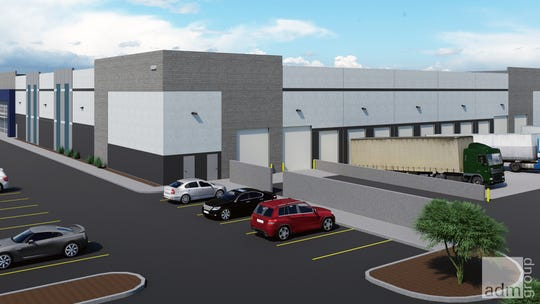A rendering of one of the two buildings about to be built by Graycor Construction for SkyBridge at the Gateway Airport.