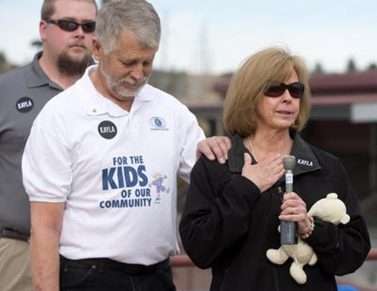 Carl and Marsha Mueller are working to support the causes their daughter, Kayla, cherished. As part of that effort, they are overseeing creation of a playground in Prescott. Carl Mueller and his wife, Marsha, speak during a playground groundbreaking at Pioneer Park in Prescott honoring their daughter in 2016.
