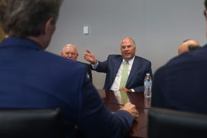 Ronald Rasband, a general authority of the Church of Jesus Christ of Latter-day Saints, speaks on Oct. 18, 2019, to The Arizona Republic Editorial Board.