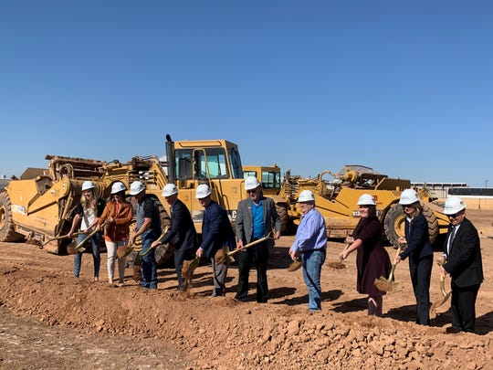 Elected officials from Mesa, Gilbert, Queen Creek and Apache Junction break ground on SkyBridge's development at the Phoenix-Mesa Gateway Airport.