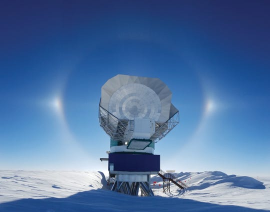 The South Pole Telescope is one of two University of Arizona telescopes that contributed to the global EHT project