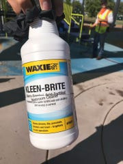 Photo of cleaning product from Freestone Park in Gilbert sent to Jennie Jensen by an officer.