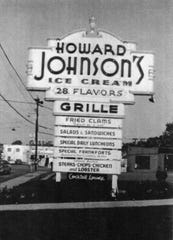 The sign for Howard Johnson's Grille on Main Street, Poughkeepsie, 1958.