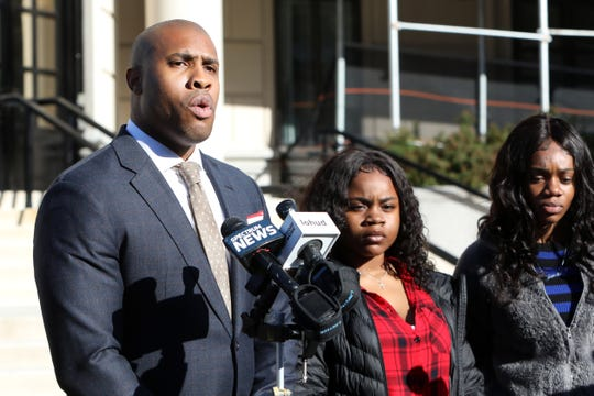 Attorney William Wagstaff III holds a press conference with sisters Jamelia Barnett, 16, right, of Poughkeepsie and Julissa Dawkins, 13, at White Plains Federal Court Oct. 28, 2019. Their mother, Melissa Johnson, is suing the city for false arrest of her daughters and the use of excessive force.