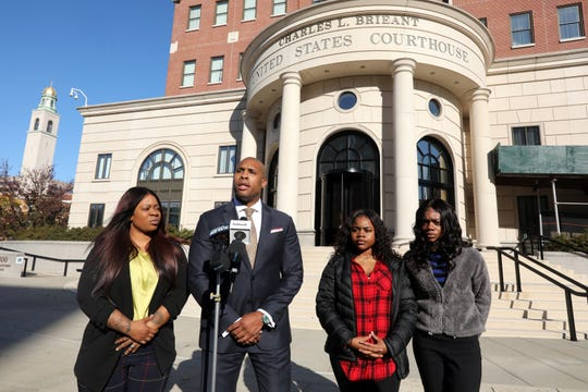 Attorney William Wagstaff III holds a press conference with Melissa Johnson of Poughkeepsie, who is suing the city for the false arrest and use of excessive force on her daughters Jamelia Barnett, 16, right, and Julissa Dawkins, 13, at White Plains Federal Court Oct. 28, 2019.