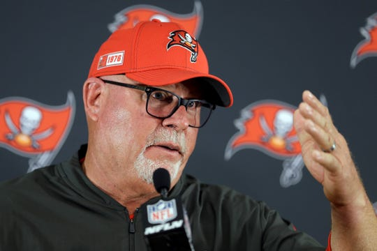 "Tampa Bay Buccaneers head coach Bruce Arians, a York High graduate, is not very happy with the NFL officials right now, saying they aren't held ""accountable."" (AP Photo/James Kenney)"
