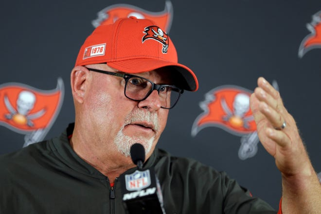 """Tampa Bay Buccaneers head coach Bruce Arians, a York High graduate, is not very happy with the NFL officials right now, saying they aren't held """"accountable."""" (AP Photo/James Kenney)"""