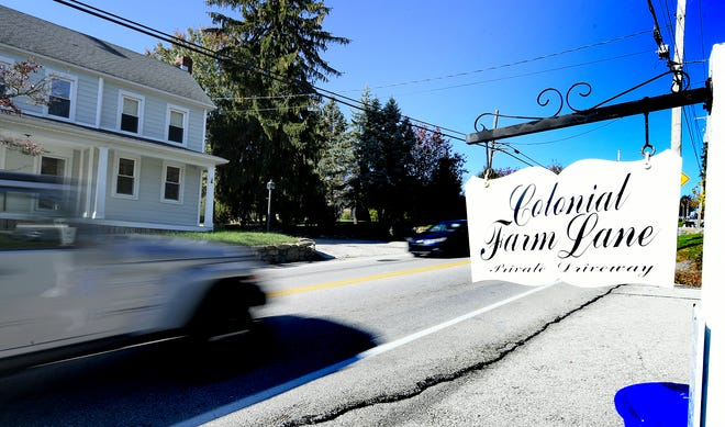 Areas like the intersection of Mt. Zion Road and the private Colonial Farm Lane, Monday, Oct. 28, 2019, may undergo changes per the Springettsbury Township Transportation Plan. The Township Board of Supervisors voted Oct. 24 to accept the final draft of the plan, which details a 20 year analysis of current and futureviable solutions for improving roads and intersections. Bill Kalina photo