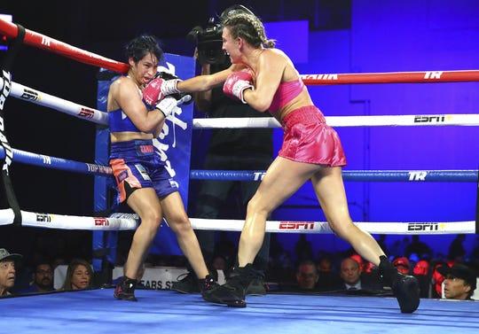 Mikaela Mayer won her fight Saturday over Alejandro Zamora.