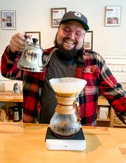 Pour man: Michael Moberly, national brand ambassador and distillery manager of the new Ferino Distillery in Reno, prepares one of the house pour-over coffees.