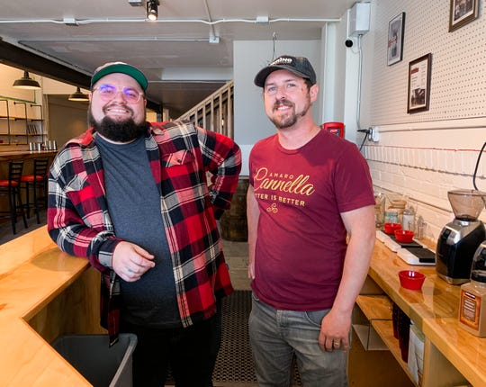 Joe Cannella, owner of Ferino Distillery, and Michael Moberly, national brand ambassador and distillery manager, in the coffee bar of the new distillery on East Fourth Street in Reno.