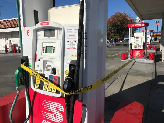 The PG&E power outage that lasted through Monday morning, Oct. 28, 2019, forced the Speedway Express gas station to close in Anderson.