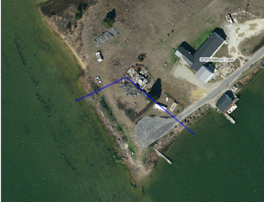 Aerial view of Hacks Neck public landing and surrounding area