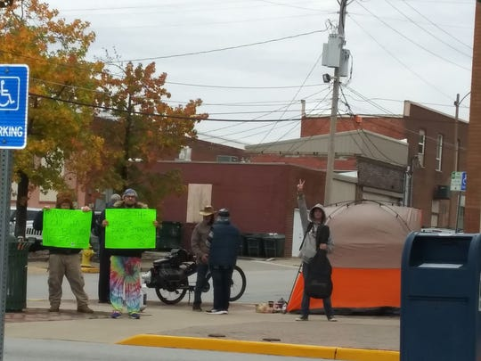 A small group of protesters in downtown Rolla, Missouri spoke out on medical marijuana issues on Oct. 25, 2019