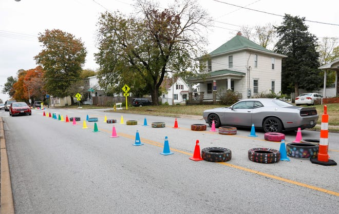 """The city of Springfield conducted a """"traffic calming"""" event on Grant Avenue and Calhoun Street on Monday, Oct. 28, 2019, in an effort to get drivers to slow down."""