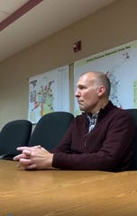 Rolla City Administrator John Butz listens to comments from former City Councilman Daniel Jones and others who protested Rolla police and city government on Oct. 24, 2019 over accusations that police mistreated a medical marijuana patient.