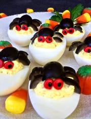 Purchase hard-boiled eggs to speed up the process for these spooky deviled eggs.