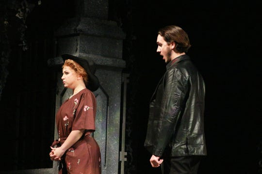 """Lord Ruthwen (Robert Fridlender) introduces himself to his new fiancé Malwina (Elizabeth Fisher) in Florida State Opera's production of """"Der Vampyr."""""""