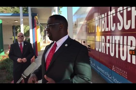 FEA President Fedrick Ingram explains Fund our Future bus tour. It seeks $20 billions for schools