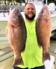 Capt. Bo Samuel of Pulling Drag charters in Fort Pierce landed numerous, but only kept five, large mangrove snappers Sunday while fishing in 80 feet of water with live mullet.