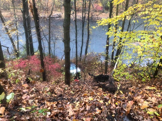 A driver crashed off Route 129 and plummeted toward the Croton River in Cortlandt on Oct. 27, 2019.