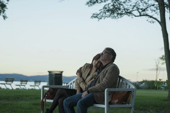 "Actors Catherine Keener and Andy Garcia in a scene from Amazon Prime's ""Modern Love,"" shot in Hastings-on-Hudson."