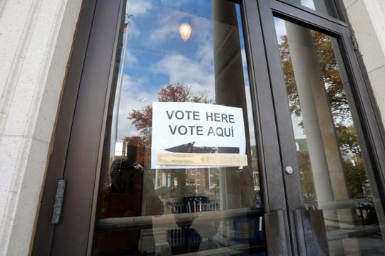 A sign announces early voting at Mount Vernon City Hall Oct. 28, 2019.