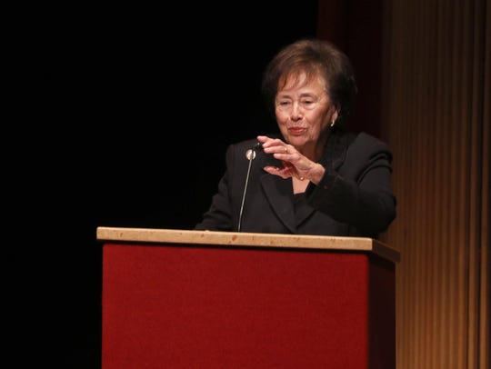 Rep. Nita Lowey, D-Harrison, speaks during the funeral of prominent educator and state Regent Judith Johnson at Rockland Community College Oct. 28, 2019. Johnson, who lived in Rockland County, served in President Bill Clinton's Department of Education, as well as serving as Superintendent of the Peekskill Schools for ten years.